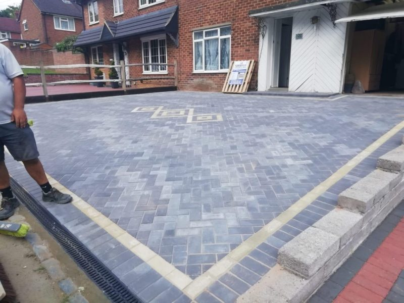 Charcoal Block Paving Driveway with Buff Insert in Basset, Southampton