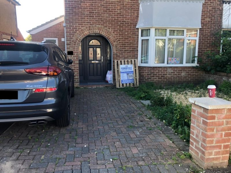 Charcoal Block Paving Driveway with New Walling and Fencing in Bitterne, Southampton